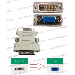 CONVERSOR DVI-I Macho (Dual-Link) (24PINES+1RAYA+4PIN) A VGA Hembra