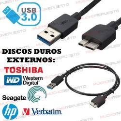 CABLE USB 3.0 A-MICRO B A USB (Carga y Datos) 1metro NEGRO (DISCOS DUROS EXTERNOS Y MOVILES)