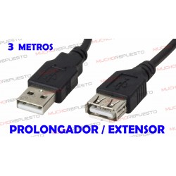 CABLE USB PROLONGADOR / EXTENSOR 3 metros
