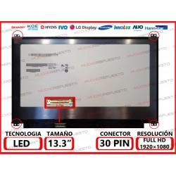 """PANTALLA 13.3"""" LED (1920x1080) SLIM 4 PUNTOS ANCLAJE SUPERIOR/INFERIOR CONECTOR BAJO IZQUIERDA 30PIN"""
