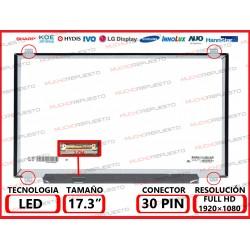 """PANTALLA 17.3"""" LED (1920x1080) SLIM 4 ANCLAJES SUPERIOR/INFERIOR CONECTOR BAJO IZQUIERDA 30PIN"""