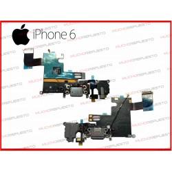 CABLE FLEX CONECTOR DE CARGA +MICROFONO +AURICULAR JACK IPHONE 6 BLANCO