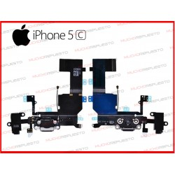 CONECTOR DE CARGA/DATOS+AUDIO IPHONE 5C NEGRO