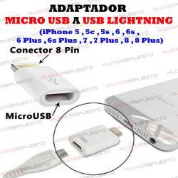 ADAPTADOR CONECTOR CONVERSOR MICROUSB A LIGTHNING (IPHONE 5,5C,5S,6,6S,7..)