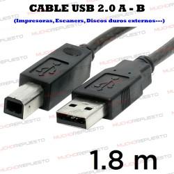 CABLE USB 2.0 A - B (IMPRESORAS / ESCANERS / DISCOS DUROS / HDD...) 1.8m