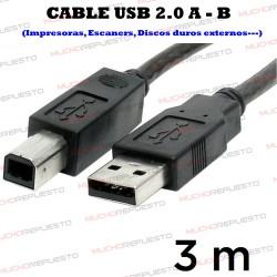CABLE USB 2.0 A - B (IMPRESORAS / ESCANERS / DISCOS DUROS / HDD...) 3M