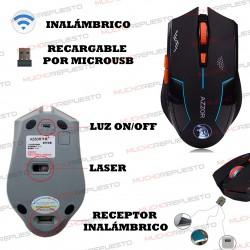 RATON OPTICO INALAMBRICO AZZOR GAMING 1600DPI 6 BOTONES