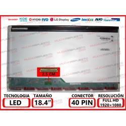 "PANTALLA 18.4"" LED (1920x1080) CONECTOR BAJO IZQUIERDA 40PIN"