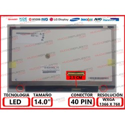"PANTALLA 14"" LED (1366x768) SLIM 2 ANCLAJES INFERIORES 40PIN"