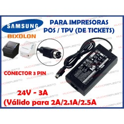 CARGADOR IMPRESORA TICKETS SAMSUNG BIXOLON PS-180/PS-179/PS-170 24V 3A