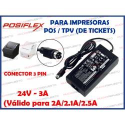 CARGADOR IMPRESORA DE TICKETS POSIFLEX PS-180/PS-179/PS-170 24V 3A