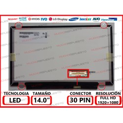 "PANTALLA 14"" LED (1920x1080) SLIM 4 ANCLAJES SUPERIOR/INFERIOR 30PIN"