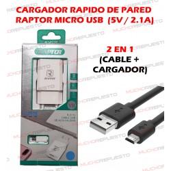 CARGADOR ALIMENTACION RAPIDO DE PARED CON CABLE MICROUSB - 5V 2.1A