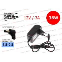 CARGADOR COMP. (MONITOR,TV (TFT/LCD),DISCO DURO,TPV...) 12V 3A 36W 5.5*2.5