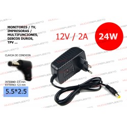 CARGADOR PARA TIRAS LED / ALTAVOCES / ROUTERS ... 12V 2A 24W 5.5*2.5