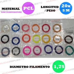 PACK FILAMENTOS PEN 3D LT (20 colores X 5 Metros) 1.75mm (Pack 1)