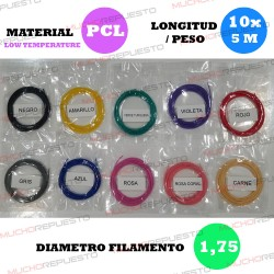 PACK FILAMENTOS PEN 3D LT (10 colores X 5 Metros) 1.75mm (Pack 3)