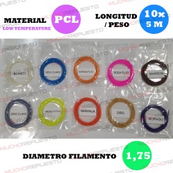 PACK FILAMENTOS PEN 3D LT (10 colores X 5 Metros) 1.75mm (Pack 2)