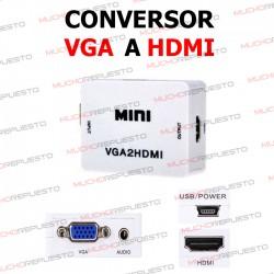 CONVERSOR VGA A HDMI (BLANCO) + CABLE USB ALIMENTACION
