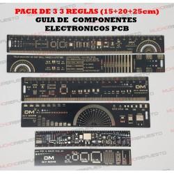 PACK DE 3 REGLAS (15+20+25cm) - GUIA DE COMPONENTES ELECTRONICOS PCB