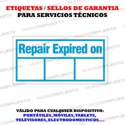 ETIQUETAS / SELLOS GARANTIA DESTRUCTIBLES FECHAS (396 Unidades)