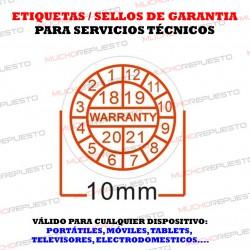 ETIQUETAS / SELLOS GARANTIA DESTRUCTIBLES FECHAS (Pack de 80 Unidades)