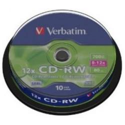 TARRINA 10 CD+RW VERBATIM REGRABABLE 12X 700MB (LP