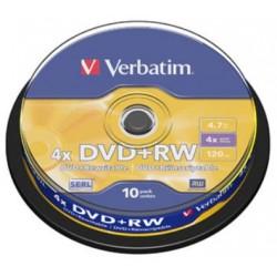 TARRINA 10 DVD+RW VERBATIM REGRABABLE 4X 4,7GB (LP