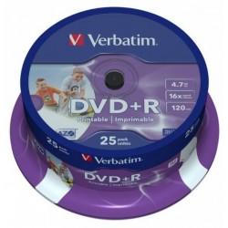 TARRINA 25 DVD+R VERBATIM 4,7GB PRINTABLE-IMP (LPI