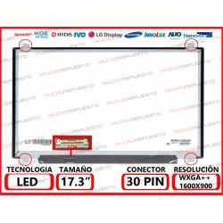 """PANTALLA 17.3"""" LED (1600x900) SLIM 4 ANCLAJES SUPERIOR/INFERIOR CONECTOR BAJO IZQUIERDA 30PIN"""