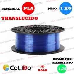 BOBINA 1KG FILAMENTO PLA COLIDO 3D-GOLD TRANS-X AZUL 1.75mm