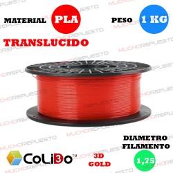 BOBINA 1KG FILAMENTO PLA COLIDO 3D-GOLD TRANS-X ROJO 1.75mm