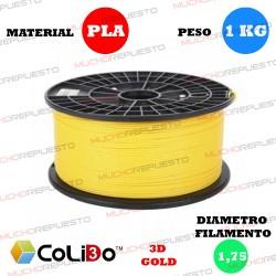 BOBINA 1KG FILAMENTO PLA COLIDO 3D-GOLD AMARILLO 1.75mm