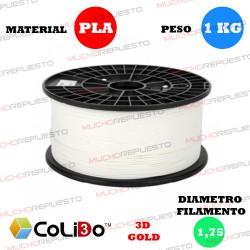 BOBINA 1KG FILAMENTO PLA COLIDO 3D-GOLD BLANCO 1.75mm