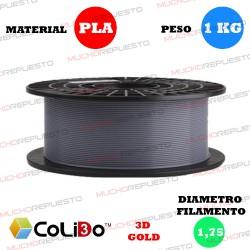 BOBINA 1KG FILAMENTO PLA COLIDO 3D-GOLD GRIS 1.75mm