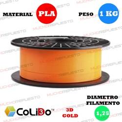 BOBINA 1KG FILAMENTO PLA COLIDO 3D-GOLD NARANJA 1.75mm