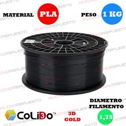 BOBINA 1KG FILAMENTO PLA COLIDO 3D-GOLD NEGRO 1.75mm
