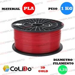 BOBINA 1KG FILAMENTO PLA COLIDO 3D-GOLD ROJO 1.75mm