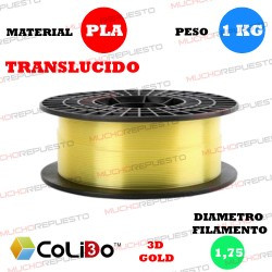 BOBINA 1KG FILAMENTO PLA COLIDO 3D-GOLD TRANS-X AMARILLO 1.75mm