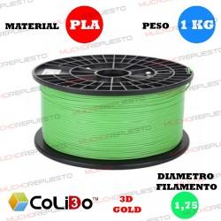 BOBINA 1KG FILAMENTO PLA COLIDO 3D-GOLD VERDE CLARO 1.75mm
