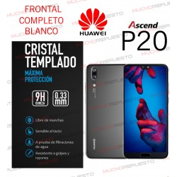 PROTECTOR CRISTAL TEMPLADO HUAWEI P20 (FULL COVER BLANCO)