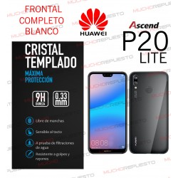 PROTECTOR CRISTAL TEMPLADO HUAWEI P20 LITE (FULL COVER BLANCO)