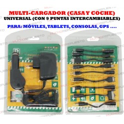 MULTI-CARGADOR (CASA Y COCHE) TABLET/MOVIL/CONSOLA... 9 PUNTAS INTERCAMBIABLES