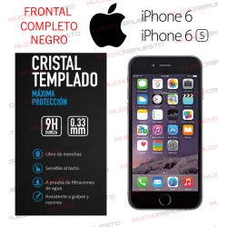 PROTECTOR CRISTAL TEMPLADO IPHONE 6 / 6S (FULL COVER NEGRO)