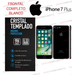 PROTECTOR CRISTAL TEMPLADO IPHONE 7 PLUS (FULL COVER BLANCO)