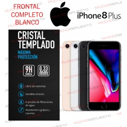 PROTECTOR CRISTAL TEMPLADO IPHONE 8 (FULL COVER BLANCO)