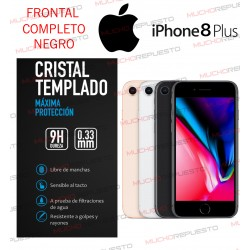 PROTECTOR CRISTAL TEMPLADO IPHONE 8 PLUS (FULL COVER NEGRO)