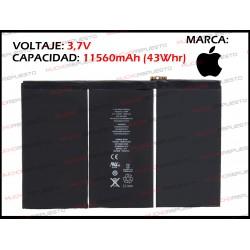 BATERIA TABLET IPAD4 3.7V 43Whr 11560mAh (A1389 /A1458 /A1459 /A1460)