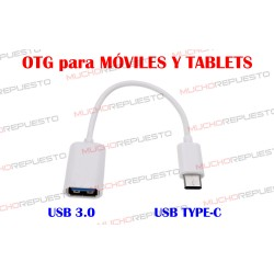 CABLE OTG USB USB 3.0 TYPE-C PARA MOVILES Y TABLETS BLANCO