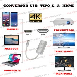 CABLE ADAPTADOR / CONVERSOR USB TYPE-C A HDMI (Resolución 4K) PLATA